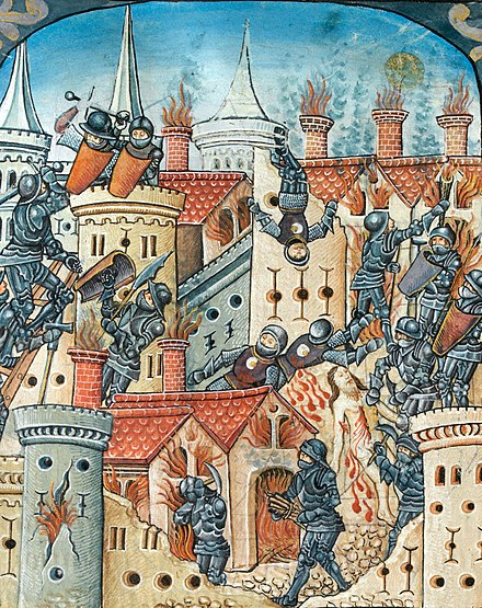 The Roman siege and destruction of Jerusalem, from a Western religious manuscript, c.1504 Siege and destruction of Jerusalem (f. 155v) Cropped.jpg