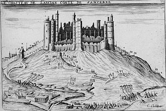 Siege of Sancerre - Siege de Sancerre, early 17th century print by Claude Chastillon.