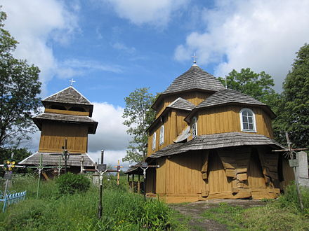 Small wooden church and belfry in the village of Sielec, Drohobych Raion from the 17th century, in the typical architectural style of that region Sielec 007.JPG