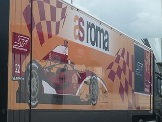 A.S. Roma (Superleague Formula team) - The A.S. Roma team truck in Silverstone Circuit's paddock (2010)