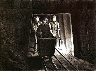 John Hawkshaw - Sir John Hawkshaw (in cart) inspecting the Severn Tunnel during its construction