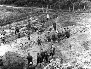 Janowska concentration camp - 1944: The Soviet Extraordinary State Commission researches the crimes of German Nazis at Janowska concentration camp and mass graves adjoining the camp.
