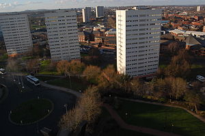 The Crescent (Birmingham) - The site of The Crescent in January 2014. The sunlit tower block is Crescent Tower.