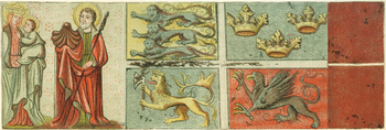 A medieval ship flag captured by forces from Lübeck in the 1420s showed the arms of Denmark, Sweden, Norway and Pomerania. The original flag was destroyed during a World War II attack on the city, but a 19th century copy remains in Frederiksborg Palace, Denmark. The saint accompanying the Virgin Mary and infant Christ is Saint James the Greater, identified by his scallop shell emblem.