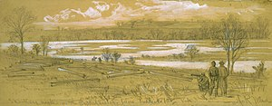 Battle of Fredericksburg - Skinkers Neck on the Rappanhannock below Fredericksburg, VA, 1862 sketch by Alfred Waud