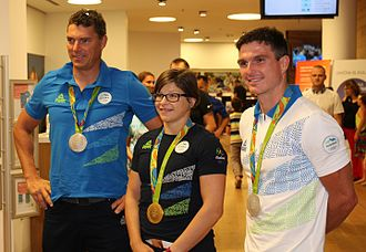 Slovenia at the 2016 Summer Olympics - Three of four medalists at a promotional event in Ljubljana after the Games: Vasilij Žbogar (silver), Tina Trstenjak (gold) and Peter Kauzer (silver)
