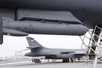 Sniper Advanced Targeting Pod - A Sniper Advanced Targeting Pod hangs from the underbelly of a B-1B Lancer