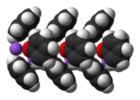 Space-filling model of part of a chain in the crystal structure of unsolvated sodium phenoxide