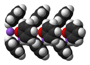Sodium phenoxide - Space-filling model of part of a chain in the crystal structure of unsolvated sodium phenoxide