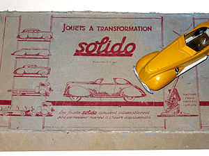 Solido - Solido model car and portion of original gift set package - 1938