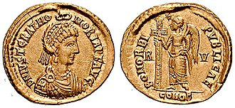 "Justa Grata Honoria - Solidus reading ""Justa Grata Honoria crowned Augusta by the hand of God"""