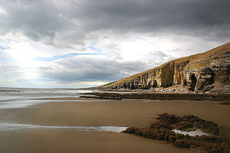 Doomsday (Doctor Who) - Southerndown beach in Wales was used as the backdrop to the Doctor's farewell to Rose Tyler on Bad Wolf Bay.