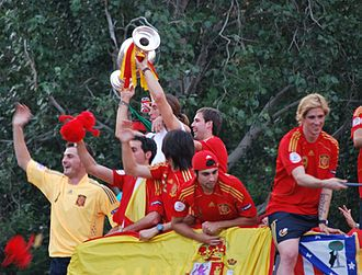 Luis Aragonés - Spanish players celebrating in Madrid after victory at Euro 2008 under Aragonés