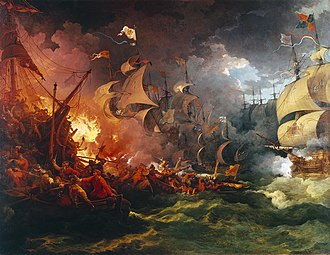 Anglo-Spanish War (1585–1604) - Defeat of the Spanish Armada, 8 August 1588 by Philip James de Loutherbourg