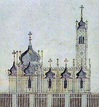 Спасо-Преображенська церква. Малюнок де ля Фліза. Середина XIX ст.