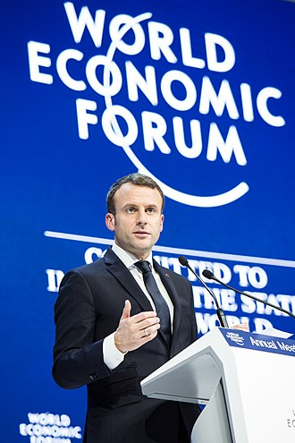 Emmanuel Macron - Macron addressing the World Economic Forum 2018 in Davos, Switzerland