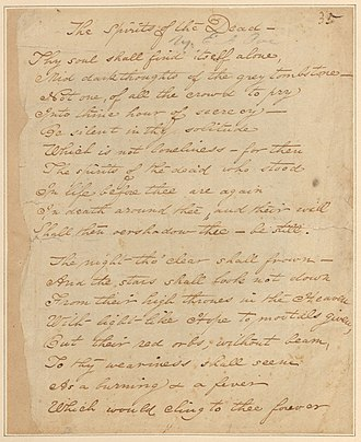 "Poems by Edgar Allan Poe - Original manuscript of a revision of ""Spirits of the Dead"" in Poe's handwriting."