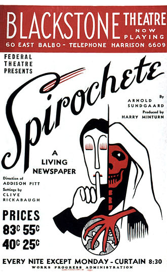Merle Reskin Theatre - Poster for the original production of Spirochete, a Living Newspaper play by Arnold Sundgaard produced by the Federal Theatre Project (1938)