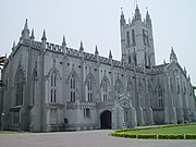 The St. Paul's Cathederal was built during British rule in Calcutta