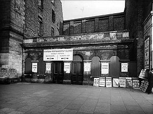 Whitechapel Road - St. Mary's (Whitechapel Road) tube station on Whitechapel Road, shortly after closure in 1938. The building was destroyed in 1940.