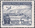 Stamp of Albania - 1950 - Colnect 340304 - Douglas DC 3 over Ali Pasha Castle Butrint.jpeg