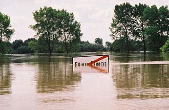 1997 Central European flood - Exit sign from village of Stary Dwór, Wołów County, Poland