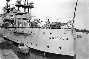 USS Chicago (CA-29) - USS Chicago docked in Brisbane, March 1941