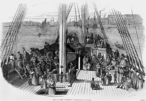 Artemisia (ship) - Deck of the Artemisia, emigrants on board, by Frederick Smyth from the Illustrated London News, 12 August 1848 p 96