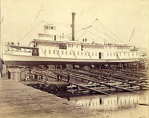 Bailey Gatzert (sternwheeler) - Bailey Gatzert on the shipways at the John J. Holland yard, in Ballard, Washington, probably just prior to launch on Saturday, November 22, 1890.