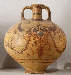 Helladic period - Stirrup vase with octopus decor, Rhodes, Late Helladic III C1, ca. 1200–1100 BC (Louvre).