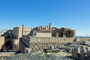 Stoa on acropolis of Lindos 2010 2.jpg