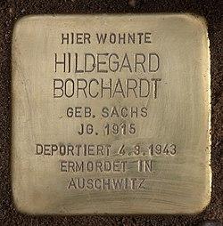 Photo of Hildegard Borchardt brass plaque