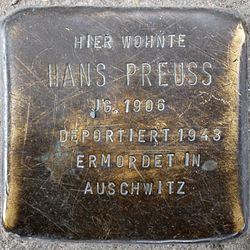 Photo of Hans Preuss brass plaque