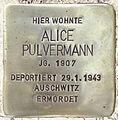 Stolperstein Lärchenweg 33 (Weste) Alice Pulvermann.jpg