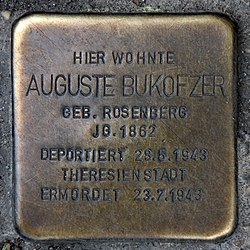 Photo of Auguste Bukofzer brass plaque