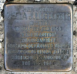 Photo of Gisela Juliusburger brass plaque