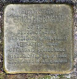 Photo of Erich Hermann brass plaque