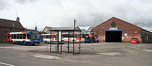 Strathtay Scottish and Stagecoach buses in Forfar bus depot, Angus, Scotland 23 May 2007.jpg