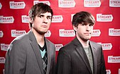 Color photograph of Ian Hecox and Anthony Padilla of Smosh in April 2010