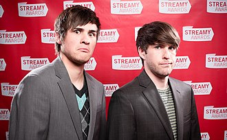 Smosh - Padilla (Left) and Hecox (right) making silly faces at the 2nd Annual Streamy Awards in 2010