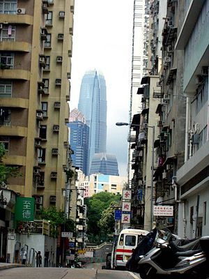 Sai Ying Pun - Third Street, in Sai Ying Pun, viewing IFC2 in Central
