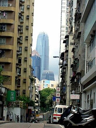 Sai Ying Pun - Third Street, in Sai Ying Pun, viewing IFC2 in Central