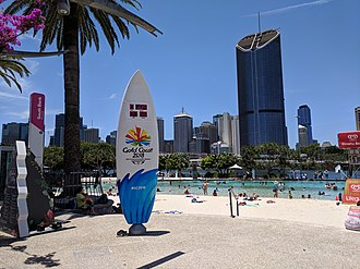 2018 Commonwealth Games - Countdown clock in Streets Beach at South Bank Parklands