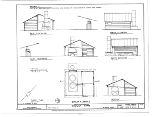 File tobacco barn elevations floor plan and section for Tobacco barn house plans