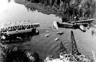 Big Bayou Canot rail accident - The wreck of the Sunset Limited at Big Bayou Canot