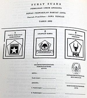 Indonesian legislative election, 1992 - 1992 Ballot