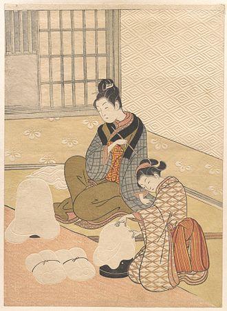 Zashiki Hakkei - Nurioke no bosetsu, colour nishiki-e print, 1766