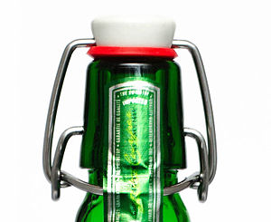 Grolsch Brewery - Swing top beer bottle closure, unopened.