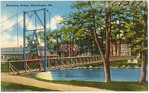 Skowhegan, Maine - Swinging Bridge postcard c.1930s