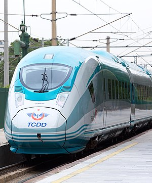 Turkish State Railways - A TCDD HT80000 (Siemens Velaro) high-speed train (YHT) in Ankara